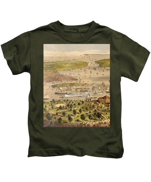 Port Of New York, Birds Eye View From The Battery Looking South, Circa 1878 Kids T-Shirt