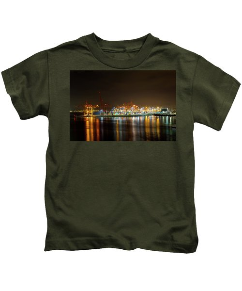 Port Of Vancouver Bc At Night Kids T-Shirt