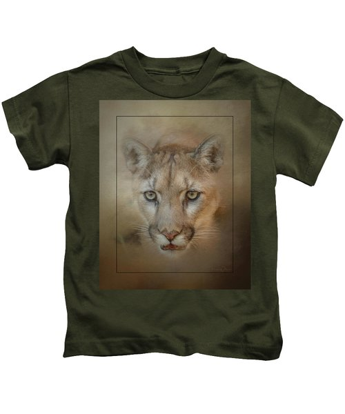 Portrait Of A Mountain Lion Kids T-Shirt