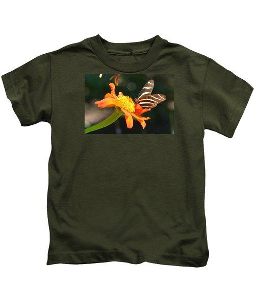 Portrait Of A Zebra Heliconia Kids T-Shirt