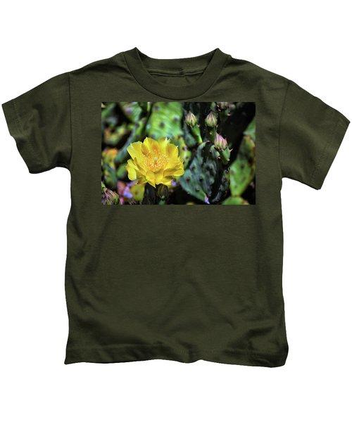 Prickly Pear Cactus Flower On Assateague Island Kids T-Shirt