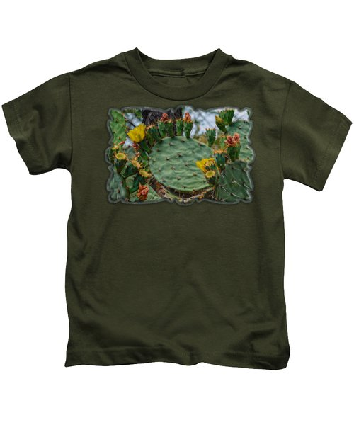 Prickly Pear Flowers H35 Kids T-Shirt by Mark Myhaver