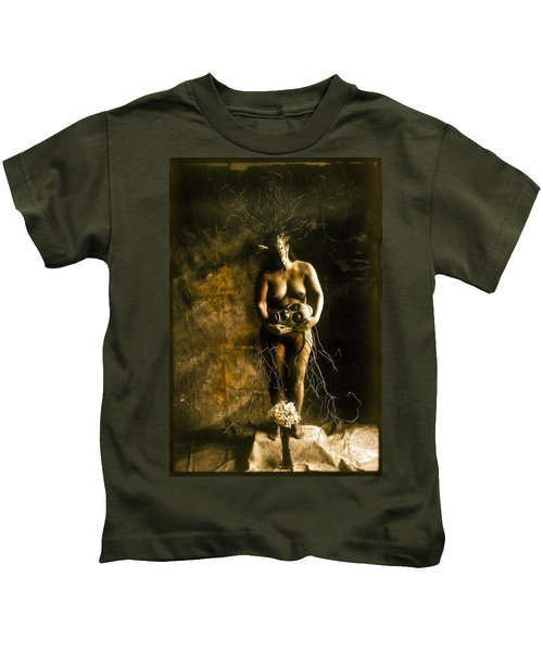 Primitive Woman Holding Mask Kids T-Shirt