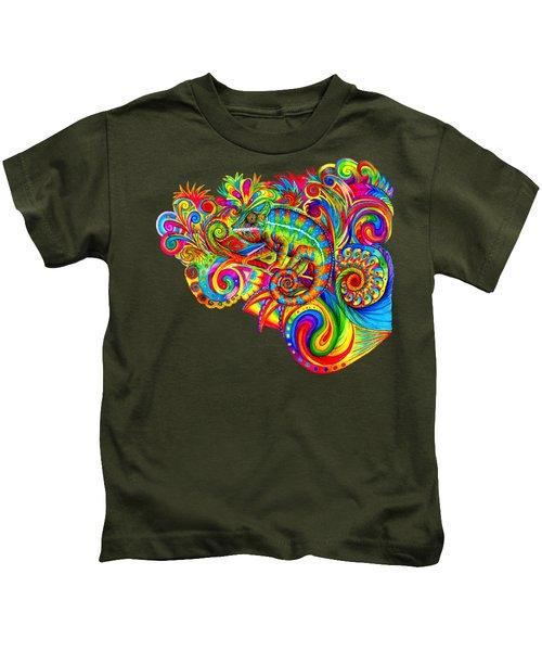Psychedelizard Kids T-Shirt by Rebecca Wang