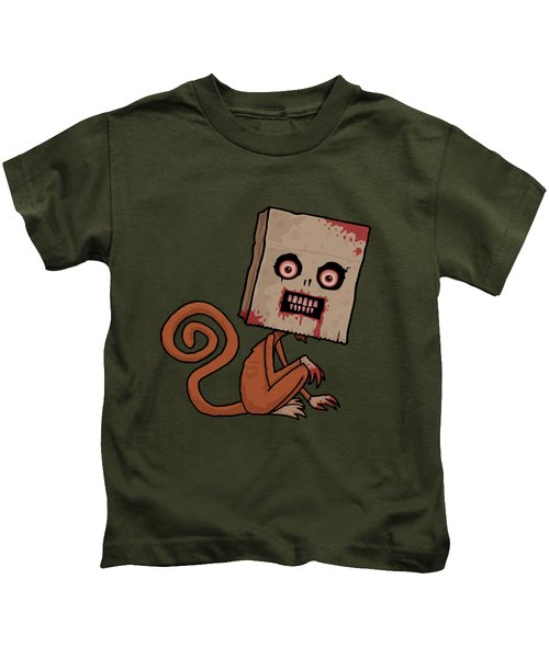 Psycho Sack Monkey Kids T-Shirt by John Schwegel