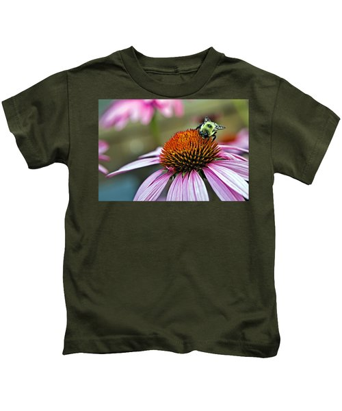 Purple Cone Flower And Bee Kids T-Shirt