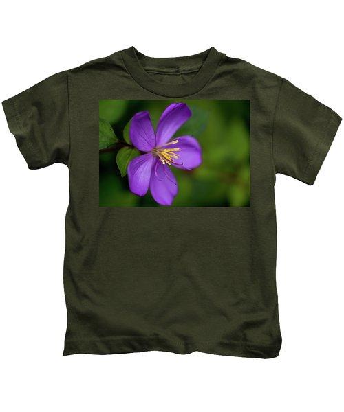 Purple Flower Macro Kids T-Shirt