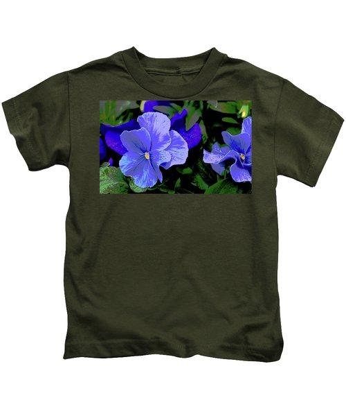 Purple Pansy Posterized Kids T-Shirt