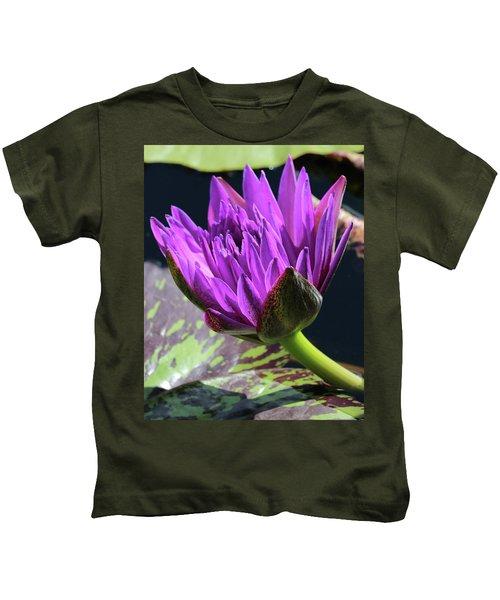 Purple Water Lily Kids T-Shirt