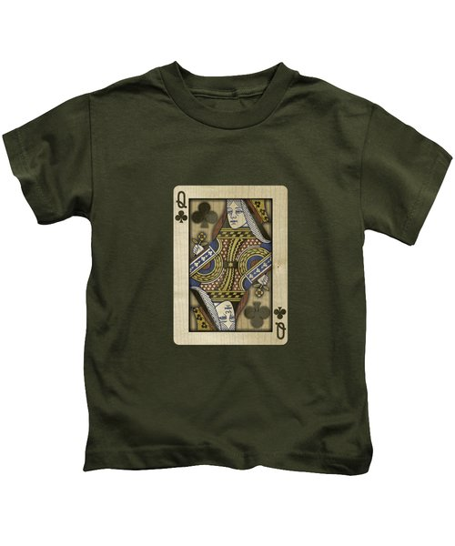 Queen Of Clubs In Wood Kids T-Shirt