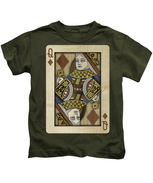 Queen Of Diamonds In Wood Kids T-Shirt