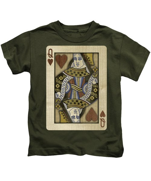 Queen Of Hearts In Wood Kids T-Shirt