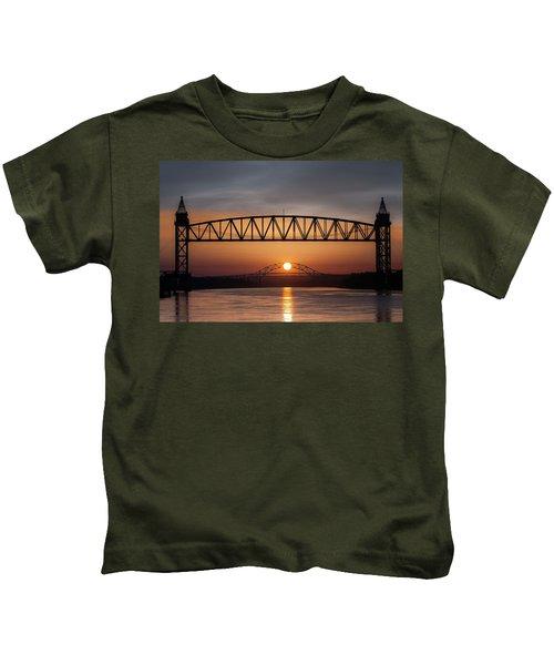 Railroad Bridge Framing The Bourne Bridge During A Sunrise Kids T-Shirt