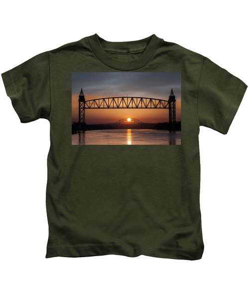 Railroad Bridge Framing The Bourne Bridge During A Sunrise Kids T-Shirt