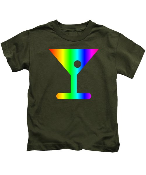 Rainbow Martini Glass Kids T-Shirt by Frederick Holiday