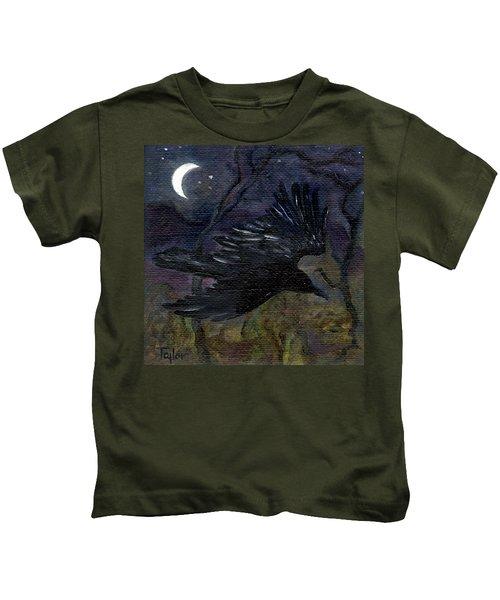 Raven In Stars Kids T-Shirt