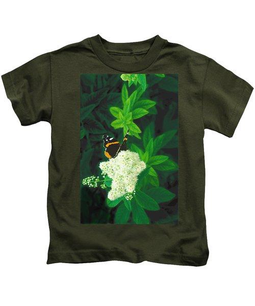 Red Admiral On Spirea Kids T-Shirt