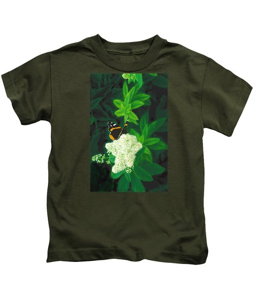 Red Admiral On Spirea Kids T-Shirt