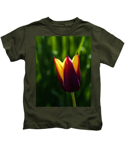 Red And Yellow Tulip Kids T-Shirt