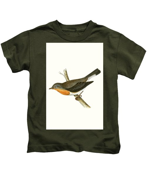 Red Breasted Flycatcher Kids T-Shirt by English School