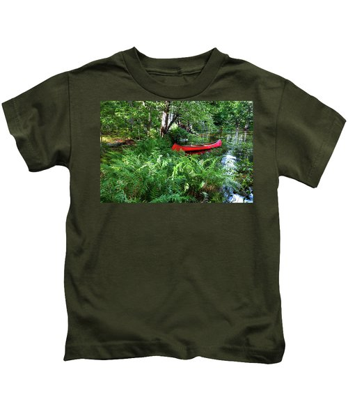 Red Canoe In The Adk Kids T-Shirt