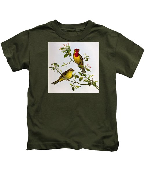 Red Headed Bunting Kids T-Shirt by John Gould