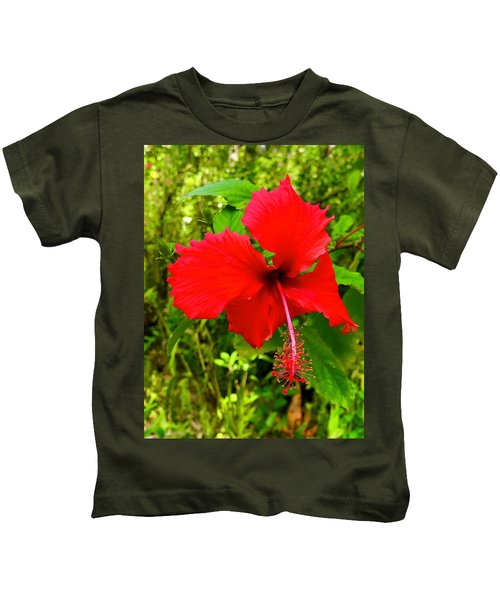 Red Hibiscus In Puna Kids T-Shirt