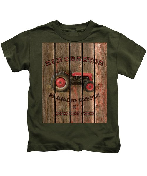 Red Tractor Farming Supply Kids T-Shirt