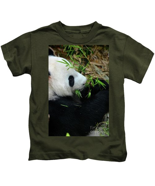 Relaxed Panda Bear Eats With Green Leaves In Mouth Kids T-Shirt