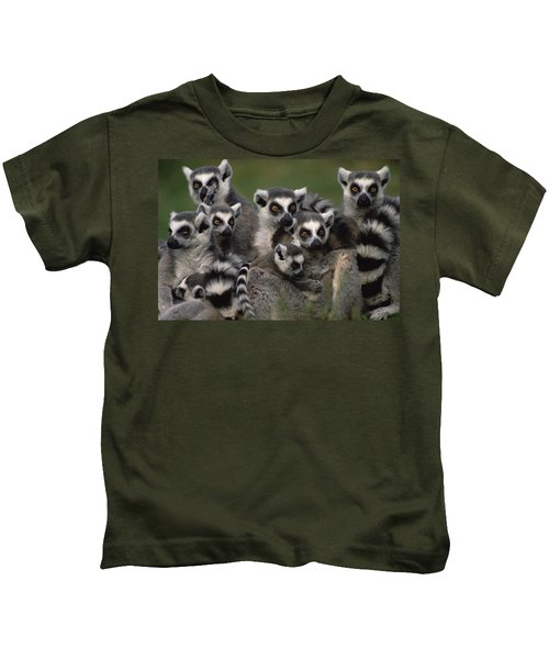 Ring-tailed Lemur Lemur Catta Group Kids T-Shirt