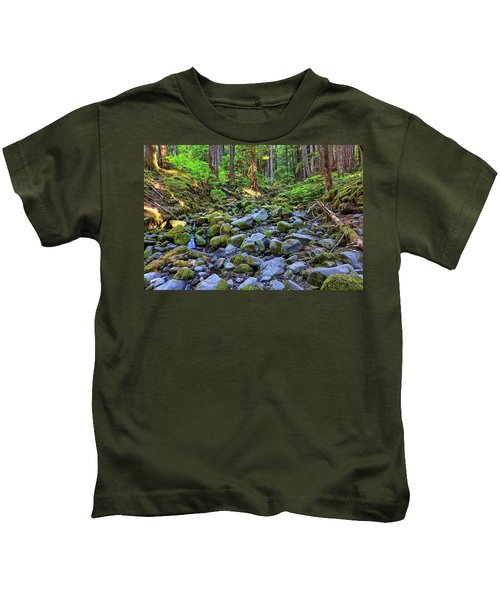 Riverbed Full Of Mossy Stones With Small Cascade Kids T-Shirt