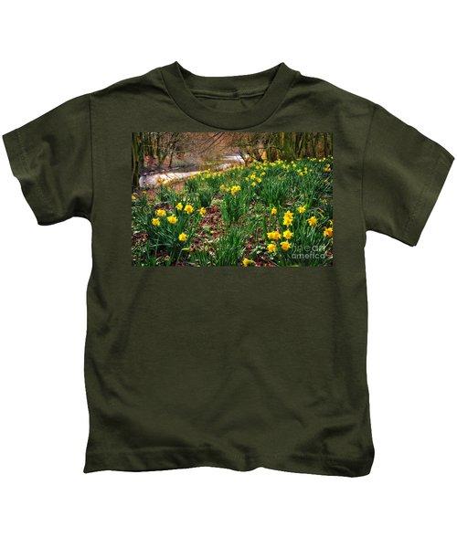 Riverside Daffodils In Spring Kids T-Shirt