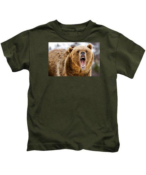 Roaring Grizzly Bear Kids T-Shirt