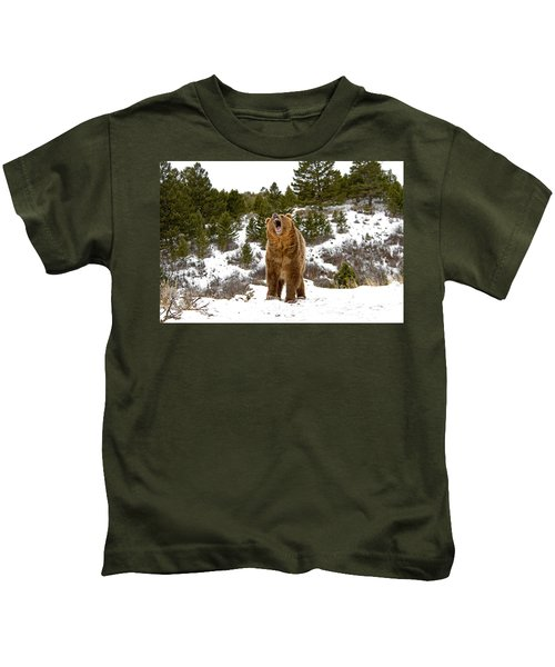 Roaring Grizzly In Winter Kids T-Shirt