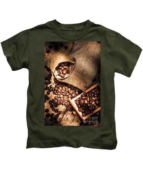 Roasted Coffee Beans In Drawer And Bags On Table Kids T-Shirt