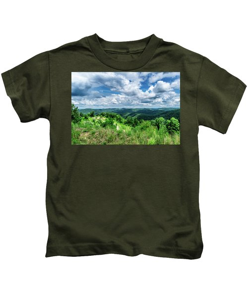 Rolling Hills And Puffy Clouds Kids T-Shirt