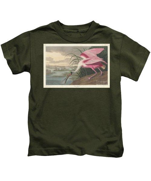 Roseate Spoonbill, 1836  Kids T-Shirt by John James Audubon