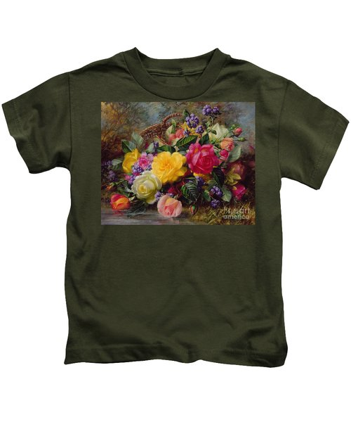 Roses By A Pond On A Grassy Bank  Kids T-Shirt