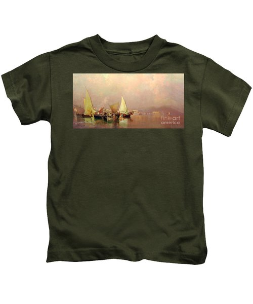 Sailing Fishermen Boats In Naples Kids T-Shirt