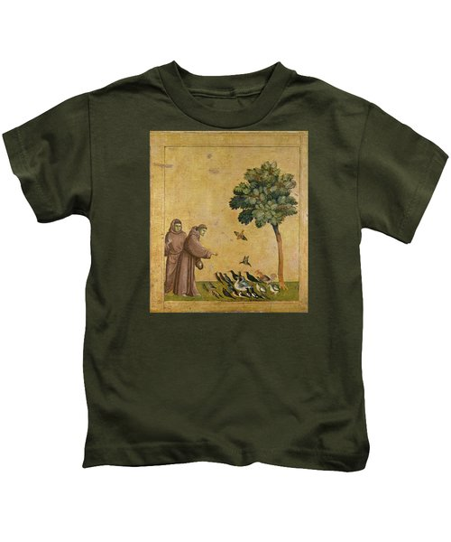 Saint Francis Of Assisi Preaching To The Birds Kids T-Shirt