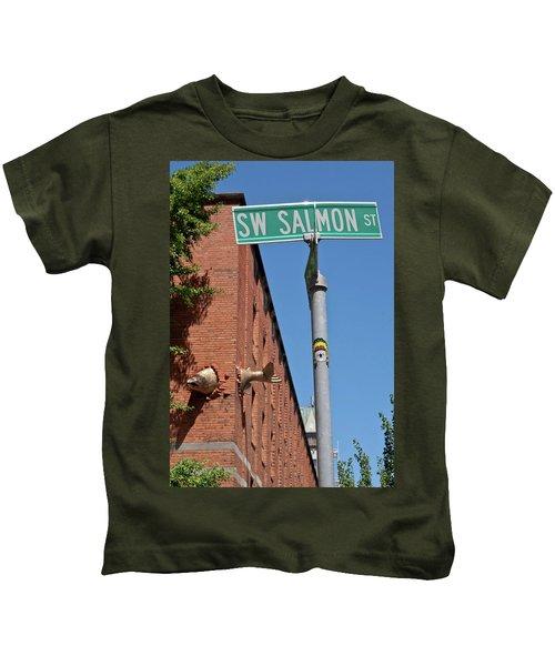 Salmon Through A Building Kids T-Shirt