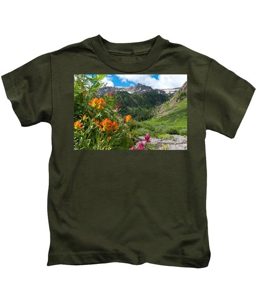 San Juans Indian Paintbrush Landscape Kids T-Shirt