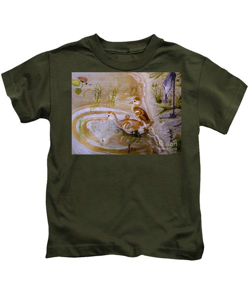 Sandhill Cranes Chicks First Bath Kids T-Shirt