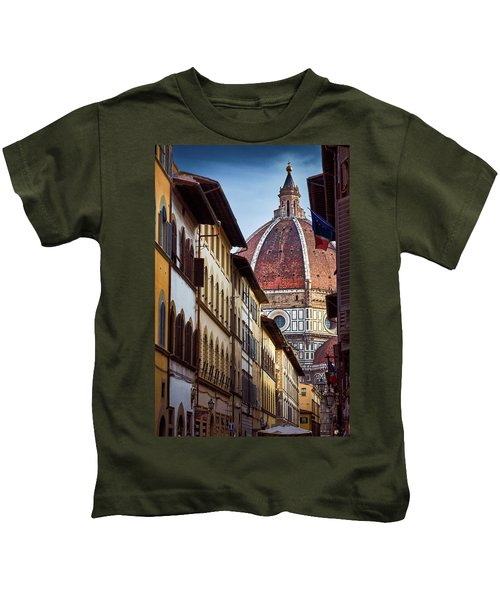 Santa Maria Del Fiore From Via Dei Servi Street In Florence, Italy Kids T-Shirt