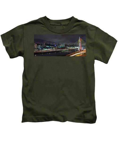 Sao Paulo Skyline - Ponte Estaiada Octavio Frias De Oliveira Wit Kids T-Shirt