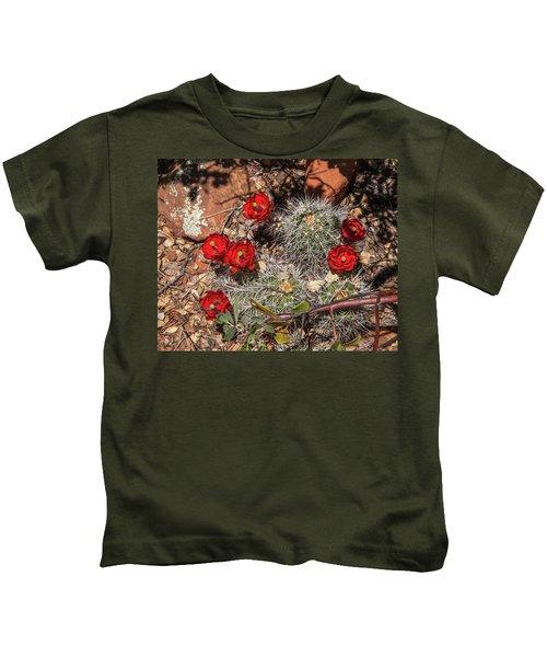 Scarlet Cactus Blooms Kids T-Shirt