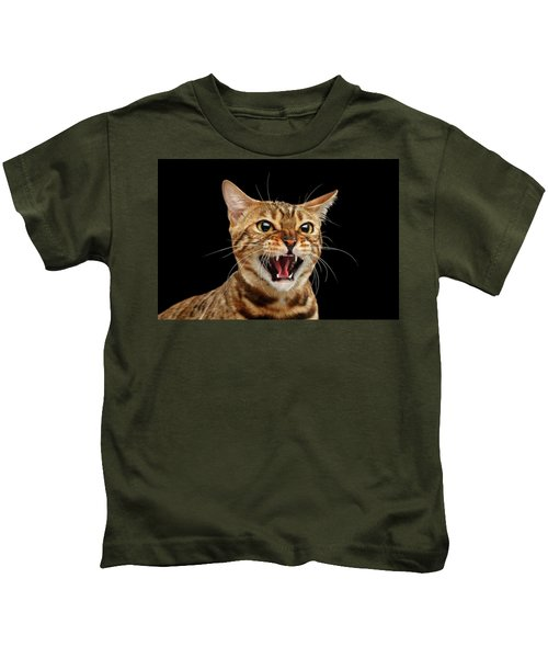 Scary Hissing Bengal Cat On Black Background Kids T-Shirt