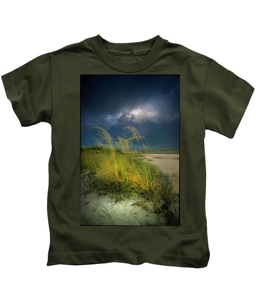 Sea Oats In The Storm Kids T-Shirt
