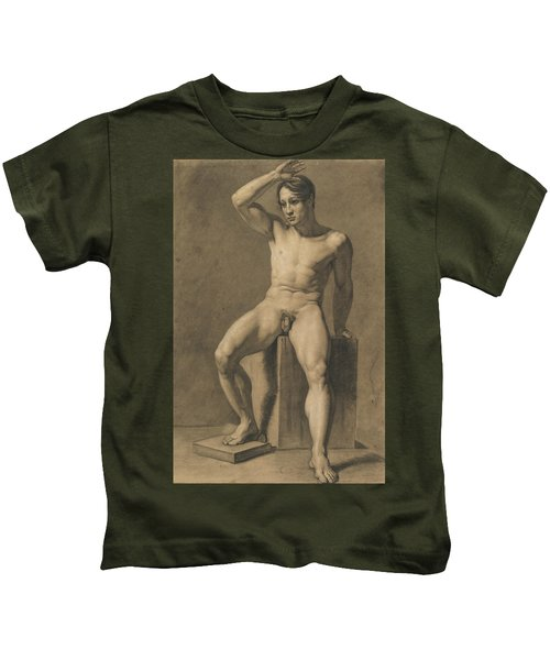 Seated Male Nude Kids T-Shirt