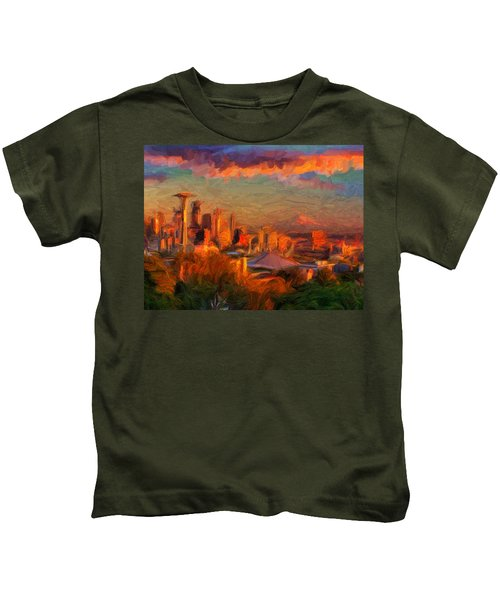 Seattle Sunset 1 Kids T-Shirt